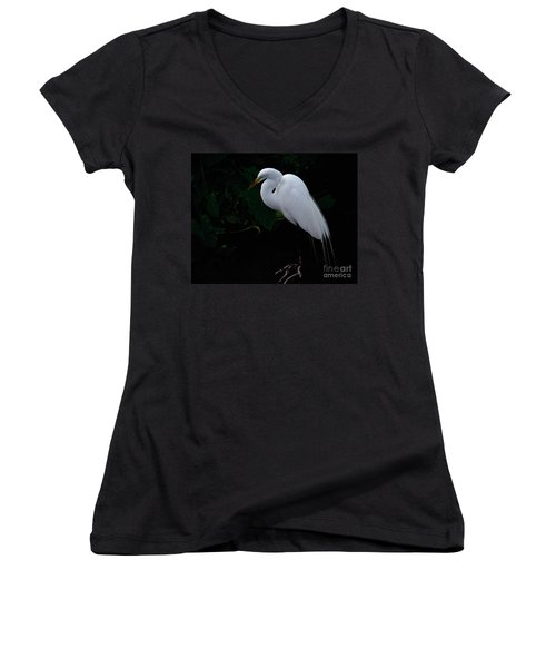 Egret On A Branch Women's V-Neck