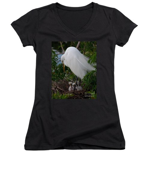 Egret With Chicks Women's V-Neck