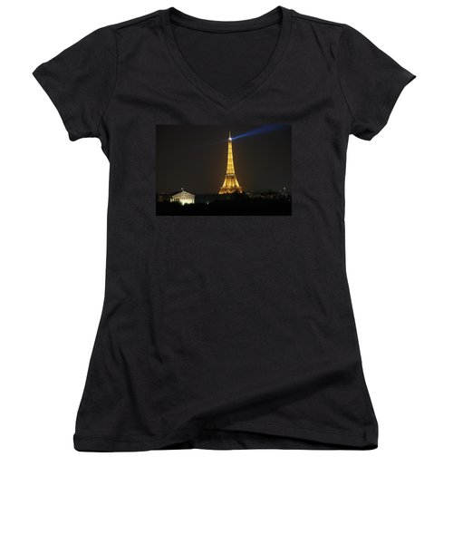 Eiffel Tower At Night Women's V-Neck