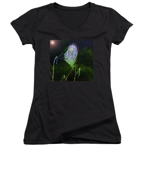 Electric Web In The Fog Women's V-Neck T-Shirt (Junior Cut) by EricaMaxine  Price