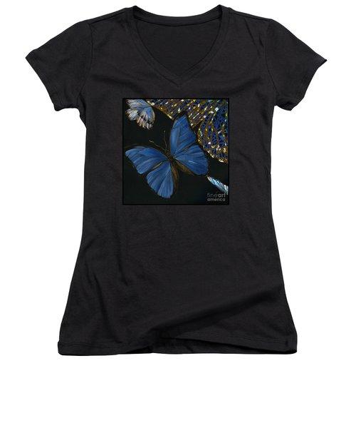 Women's V-Neck T-Shirt (Junior Cut) featuring the painting Elena Yakubovich - Butterfly 2x2 Lower Left Corner by Elena Yakubovich