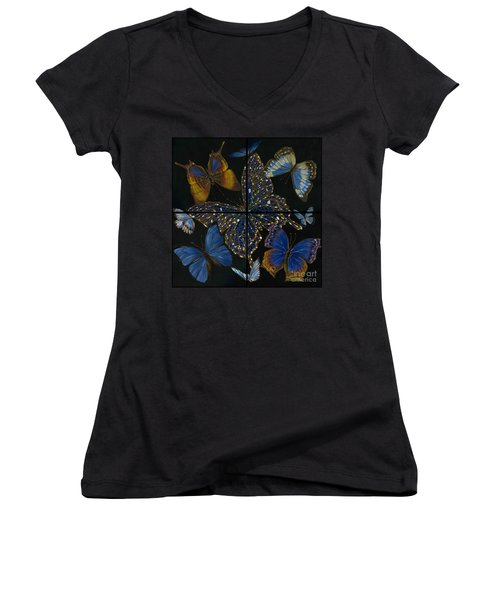Elena Yakubovich Butterfly 2x2 Women's V-Neck T-Shirt (Junior Cut) by Elena Yakubovich