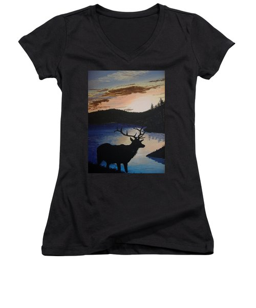 Women's V-Neck T-Shirt (Junior Cut) featuring the painting Elk At Sunset by Norm Starks