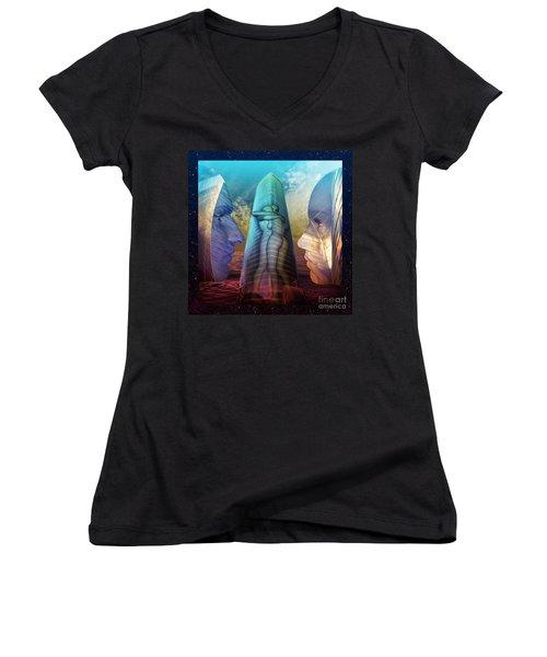 Women's V-Neck T-Shirt (Junior Cut) featuring the digital art Embrace Tower by Rosa Cobos