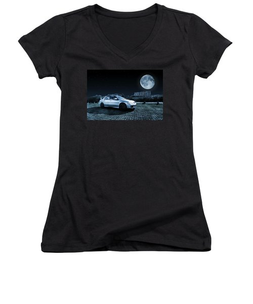 Women's V-Neck T-Shirt (Junior Cut) featuring the photograph Evo 7 At Night by Steve Purnell