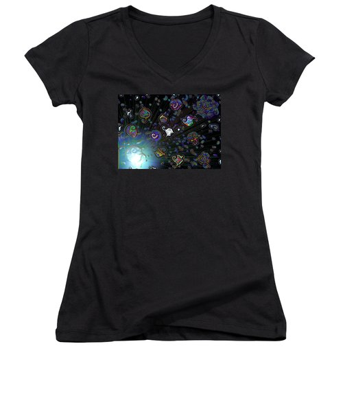 Exploding Star Women's V-Neck T-Shirt (Junior Cut) by Alec Drake