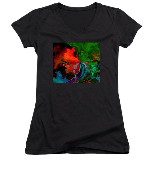 Faa Abstract 3 Invasion Of The Reds Women's V-Neck T-Shirt (Junior Cut) by Claude McCoy