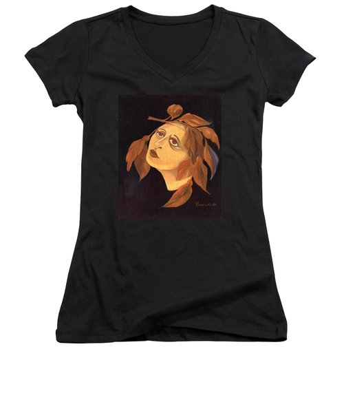Face In Autumn Leaves Women's V-Neck T-Shirt