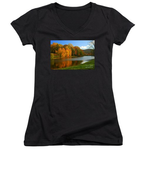 Fall In New York State Women's V-Neck T-Shirt (Junior Cut) by Mark Gilman
