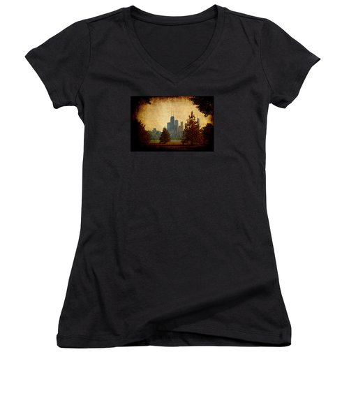Women's V-Neck T-Shirt (Junior Cut) featuring the photograph Fall In The City by Milena Ilieva