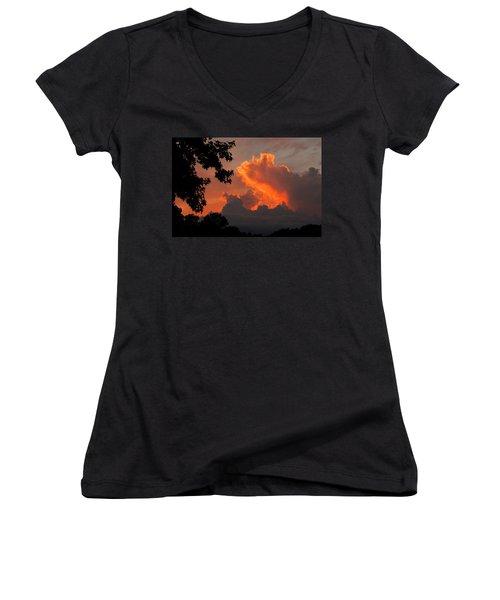 Fiery Sunset Women's V-Neck