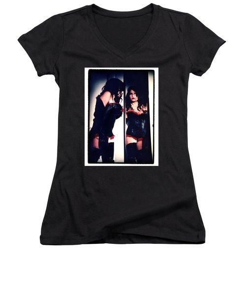 Film Noir Fetish Women's V-Neck T-Shirt (Junior Cut) by Lon Casler Bixby