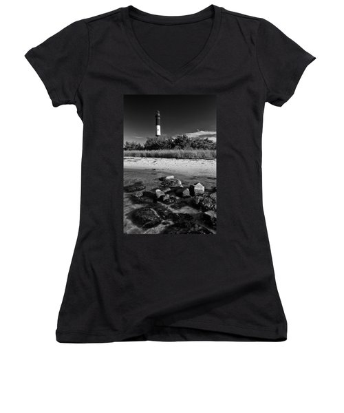 Fire Island In Black And White Women's V-Neck