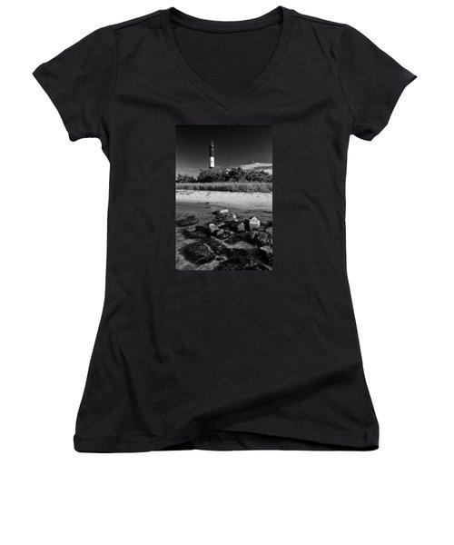 Fire Island In Black And White Women's V-Neck T-Shirt (Junior Cut) by Rick Berk