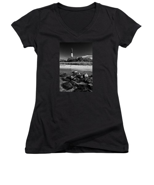 Fire Island In Black And White Women's V-Neck T-Shirt
