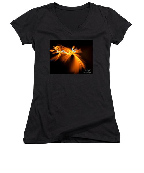 Women's V-Neck T-Shirt (Junior Cut) featuring the digital art Fireflies by Victoria Harrington