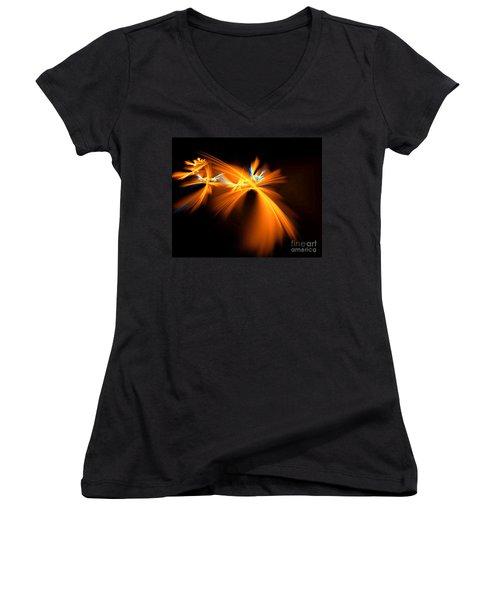 Fireflies Women's V-Neck T-Shirt (Junior Cut) by Victoria Harrington