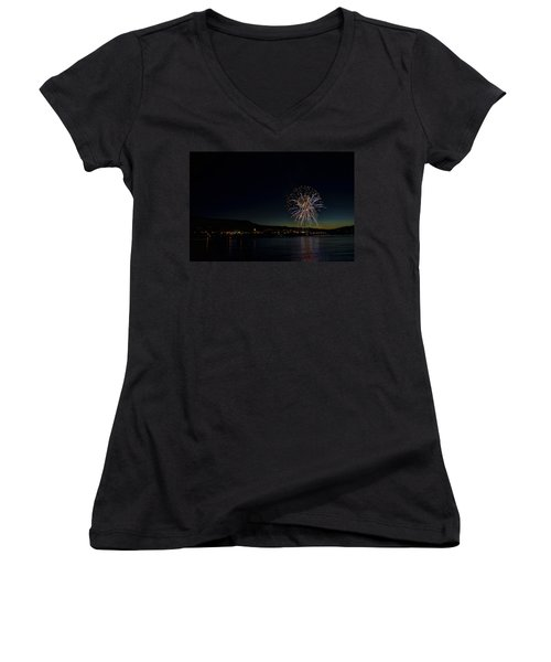Fireworks On The River Women's V-Neck (Athletic Fit)