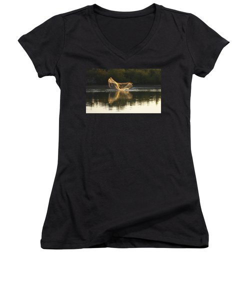 Women's V-Neck T-Shirt (Junior Cut) featuring the digital art Fisherman Throwing His Net by Anne Mott