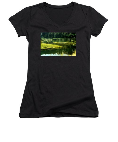 Fishing The Still Water Women's V-Neck T-Shirt