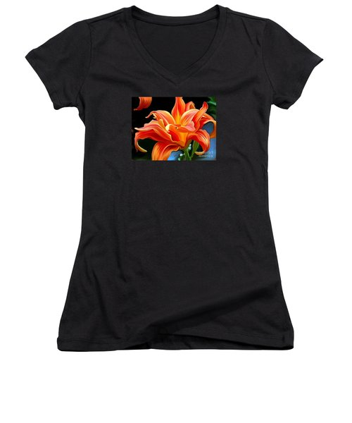 Flaming Flower Women's V-Neck T-Shirt (Junior Cut) by Patricia Griffin Brett