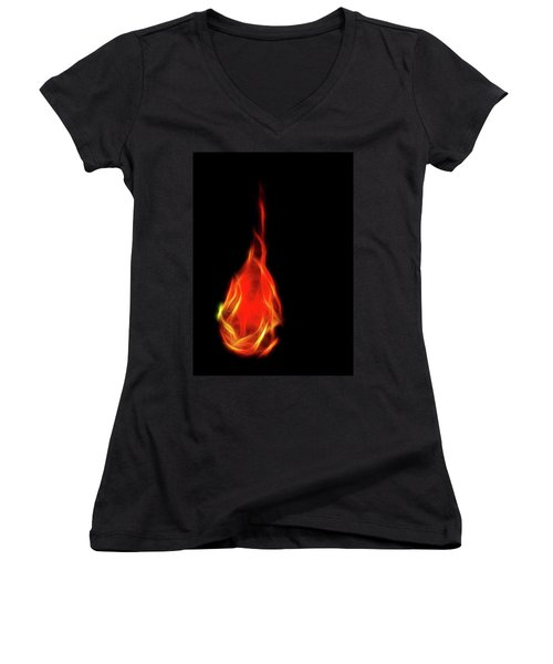 Flaming Tear Women's V-Neck (Athletic Fit)