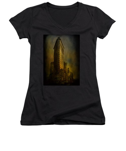 Flatiron Building...my View..revised Women's V-Neck T-Shirt (Junior Cut) by Jeff Burgess