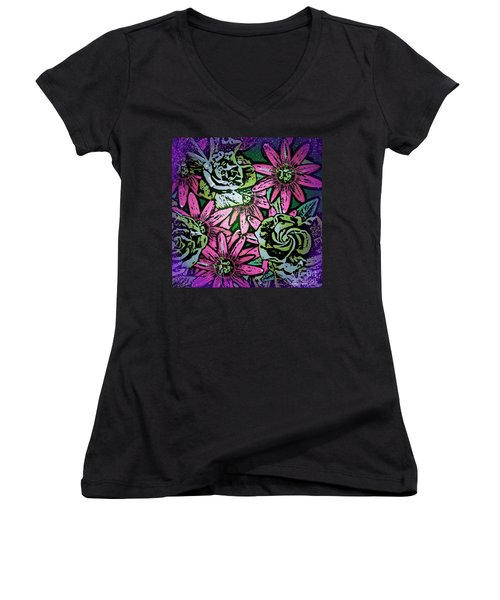 Women's V-Neck T-Shirt (Junior Cut) featuring the digital art Floral Explosion by George Pedro