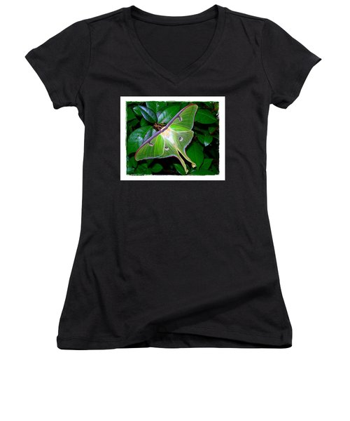 Women's V-Neck T-Shirt (Junior Cut) featuring the photograph Fly Me To The Moon by Judi Bagwell