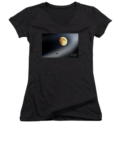 Fly Me To The Moon Women's V-Neck (Athletic Fit)