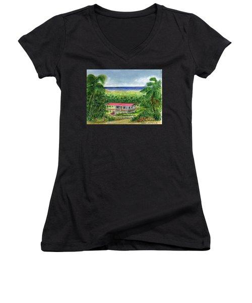 Foothills Of El Yunque Puerto Rico Women's V-Neck T-Shirt (Junior Cut) by Frank Hunter