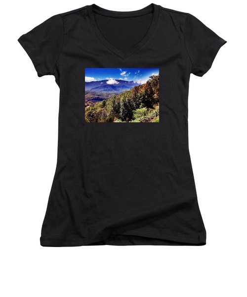 Women's V-Neck T-Shirt (Junior Cut) featuring the photograph Foothills Parkway Tennessee by Janice Spivey