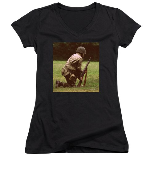 Women's V-Neck T-Shirt (Junior Cut) featuring the photograph For Freedom by Lydia Holly