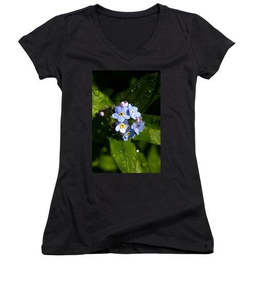 Forget Me Not Women's V-Neck T-Shirt (Junior Cut) by Ralph A  Ledergerber-Photography