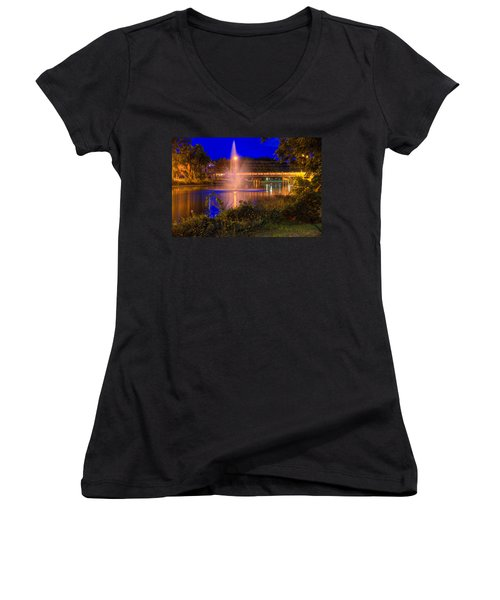 Fountain And Bridge At Night Women's V-Neck T-Shirt
