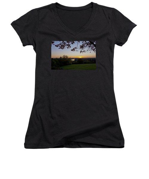 Women's V-Neck T-Shirt (Junior Cut) featuring the photograph Framed Sunset by Maj Seda