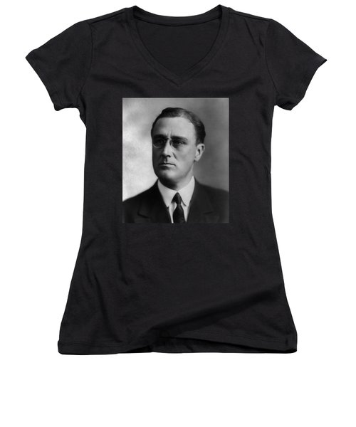 Women's V-Neck T-Shirt (Junior Cut) featuring the photograph Franklin Delano Roosevelt by International  Images