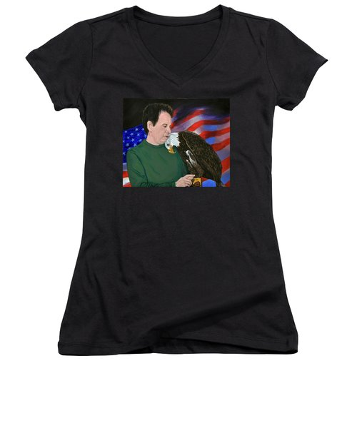 Freedom Friends Women's V-Neck T-Shirt (Junior Cut) by Stan Hamilton
