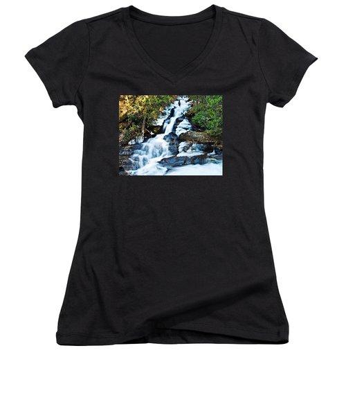 Women's V-Neck T-Shirt (Junior Cut) featuring the photograph Frozen Waterfall by Susan Leggett