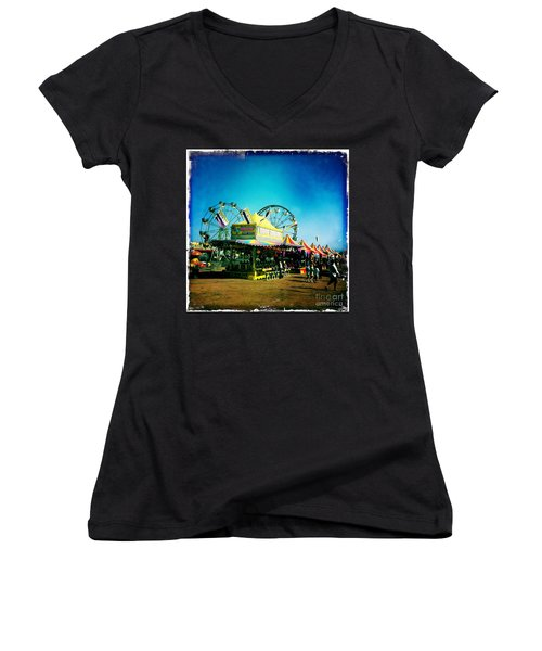 Women's V-Neck T-Shirt (Junior Cut) featuring the photograph Fun At The Fair by Nina Prommer