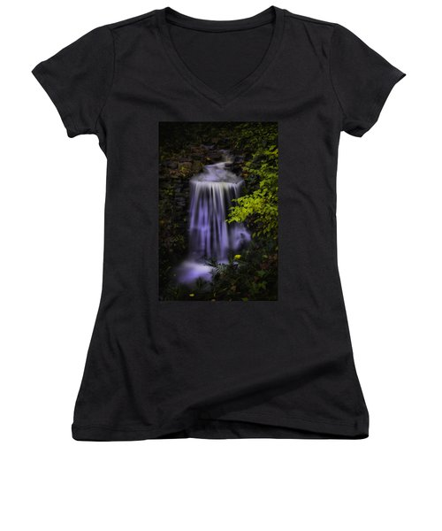 Women's V-Neck T-Shirt (Junior Cut) featuring the photograph Garden Falls by Lynne Jenkins