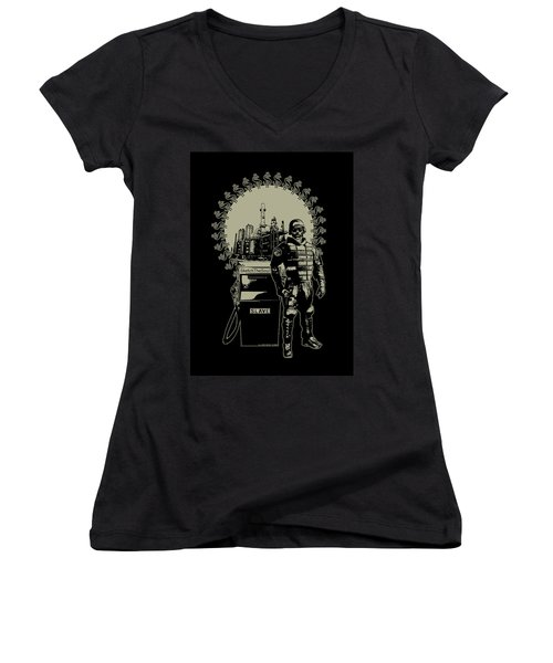 Gas Riot  Women's V-Neck T-Shirt (Junior Cut) by Tony Koehl