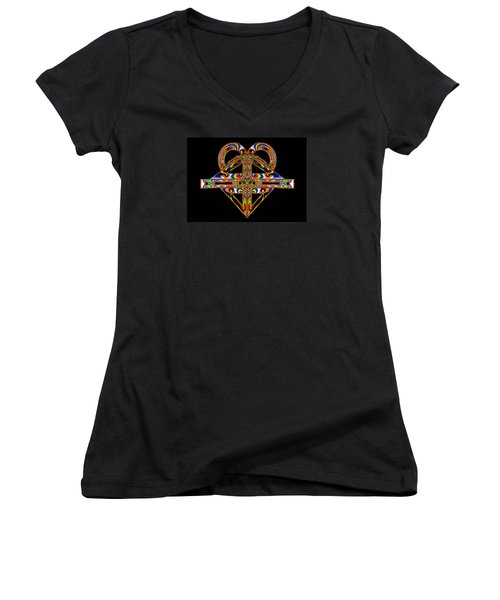 Women's V-Neck T-Shirt (Junior Cut) featuring the photograph Geometry Mask by Steve Purnell