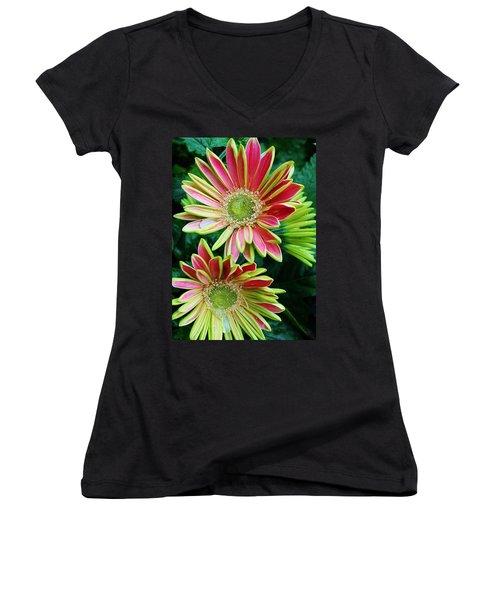 Gerber Daisies Women's V-Neck T-Shirt (Junior Cut) by Bruce Bley