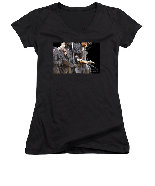 Women's V-Neck T-Shirt (Junior Cut) featuring the photograph Gettysburg Monument by Cindy Manero
