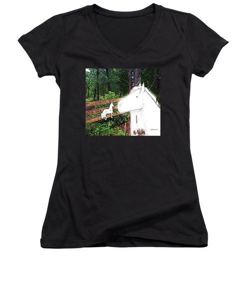 Women's V-Neck T-Shirt (Junior Cut) featuring the drawing Ghost Horse by George Pedro