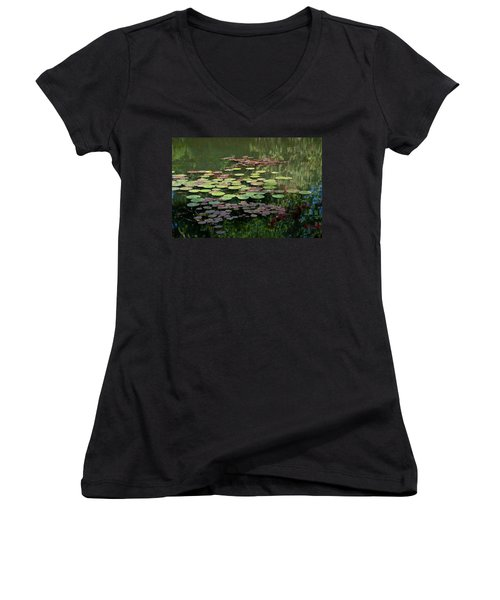Giverny Lily Pads Women's V-Neck T-Shirt (Junior Cut) by Eric Tressler