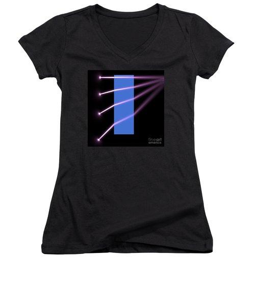 Women's V-Neck T-Shirt (Junior Cut) featuring the digital art Glass Block 2 by Russell Kightley