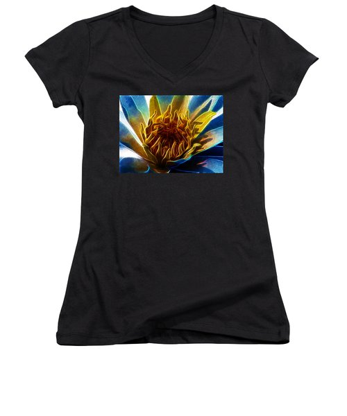 Glowing Lotus Women's V-Neck (Athletic Fit)