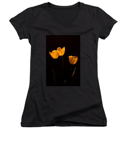 Women's V-Neck T-Shirt (Junior Cut) featuring the photograph Glowing Tulips by Ed Gleichman